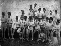 A group photograph of nineteen members of the Brighton Swimming Club, believed to have been taken by the photographer Benjamin William Botham in 1863. The Brighton Swimming Club was established following a meeting of swimming enthusiasts at The Jolly Fisherman in Brighton's Market Street, on 4th May 1860.