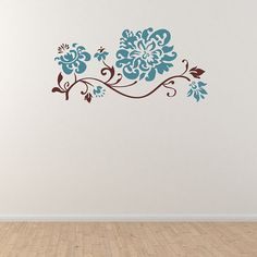 Floral Branch with Flower  Wall Decal by WallJems on Etsy.