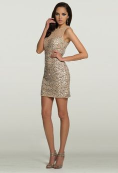 Homecoming Dresses - Sequin Illusion Short Dress from Camille La Vie and Group USA