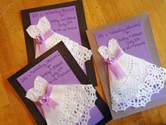 Wedding Shower Invitations made from a doily. http://craftytraveler.wordpress.com/2013/09/23/wedding-shower-invitations/