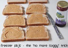 Lunchbox Freezer Cooking Trick: Peanut Butter and Jelly Sandwiches | 5DollarDinners.com