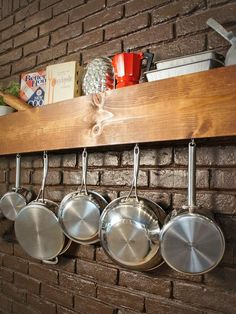 Make your own kitchen storage shelf that doubles as a pot rack. http://www.hgtv.com/handmade/do-it-yourself-kitchen-storage-shelf-and-pot-rack/index.html?soc=pinterest