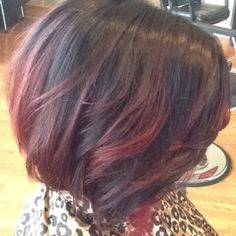 Red and brown ombre, short hair
