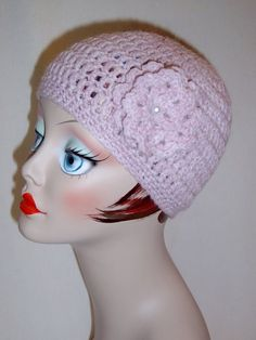 Handmade Adult Crochet Hat in Light Pink with Flower 25 more Colors to Choose From $20