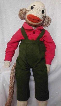 """21"""" Vintage Red Heel SOCK MONKEY Doll Boy Stuffed Animal Handmade In ORIG OUTFIT"""