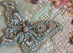 butterfli, craft, shirle fassel, crazy quilting, beadwirepmcloom inspir, bead embroideri, quilts, beads, crazi quilt