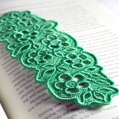 Sea Green Lace Bookmark, Made in USA with Floral Details