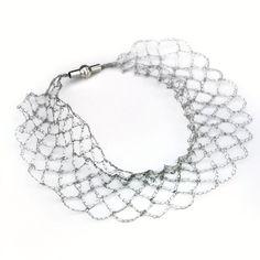 silver wire chrochet necklace