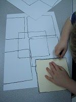 Kindergarten Mondrian- trace overlapping squares, add primary colors to resulting shapes
