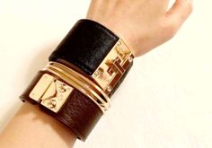 For minimalist-HOW TO STACK LEATHER BRACELETS //CHOCO BROWN leather bracelet, black leather cuff