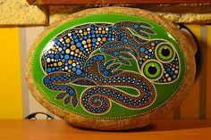 lizard painted rock