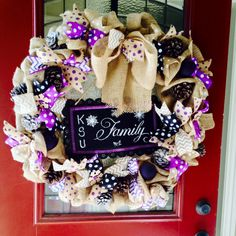 K-State burlap wreath.