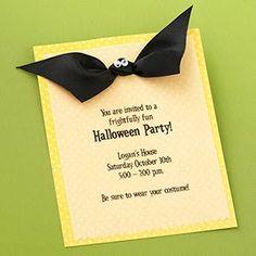 Halloween Party Ideas - Invitations- love the bat ribbon!