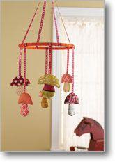 baby mobiles, baby gifts, craft idea, children, fairi nurseri, babi stuff, mushroom mobil, kid, mushrooms