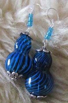 Pear Shaped Hand-Blown Glass Bead Earrings hand blown glass, bliss blue, bead earrings, handblown glass, glass work, blue glass, pear shape, glass bead