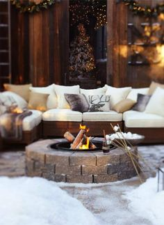 Fire pit with marshmallows and outdoor furniture - holiday edition