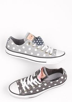 grey polka dotted converse sneakers