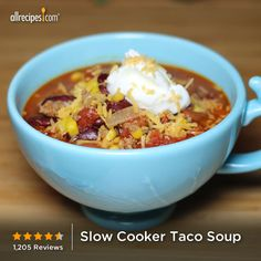"Slow Cooker Taco Soup | ""This was a great soup! Hearty, tasty, easy, economical - what more can I say besides my family inhaled it! Thanks for sharing this recipe, Janeen Barlow!"""