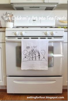 How to Turn Kids Art into Tea Towels - so easy and your kids will love this!
