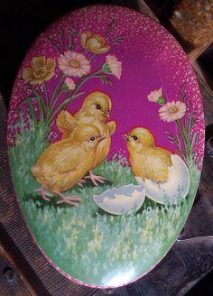 Vintage Easter Egg Shaped Tin.