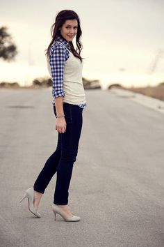 love the layered top with the skinny jeans and shiny shoes! i never know how to wear button down shirts outside of work.