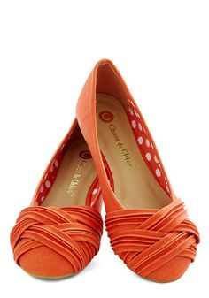 Fresh Steps Flat - Flat, Faux Leather, Orange, Solid, Braided, Casual, Weekend, Good... So cute!!