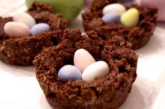 """No-Bake Chocolate Coconut Nests – They are as fun to make as they are to eat! Make yours into a fun activity with the kiddos and display them on your holiday table … or share them with your favorite """"peeps""""."""