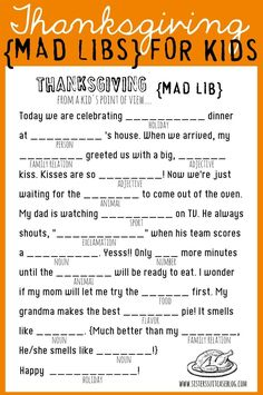 mad libs printable | Thanksgiving Mad Libs {Printable}