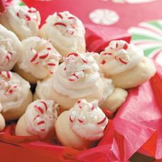 "Peppermint Meltaways Recipe - Previous pinner wrote, ""This recipe is very pretty and festive-looking on a cookie platter. I often cover a plate of these meltaways with red or green plastic wrap and a bright holiday bow in one corner. And yes, they really do melt in your mouth!"""