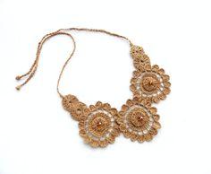 Crochet Earrings Natural Linen Circle Earrings by CraftsbySigita
