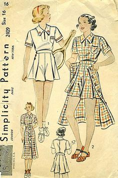 simplicity tennis outfit 2409 - 30s Just put the matching long skirt on after the match!