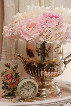 Shabby Ice Bucket & Peonies