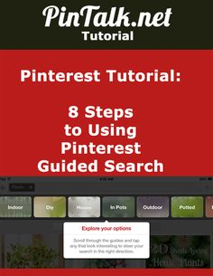 8 Steps to Using Pinterest Guided Search. Pinterest introduced a new feature last week called Guided Search. This enhancement makes it easier for users to find content on the popular, image driven social network. The new search algorithm takes into account the words used by its millions of users to described saved images and then curates that information into dynamic categories to return search results. Currently, Guided Search is available only to mobile users. #pinteresttutorial #tutorial
