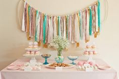 dessert tables, sweet tables, birthday parties, color, ribbons