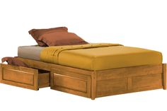 Poppy K Series Platform Storage Bed Frame in Oak - Maximum Storage Space