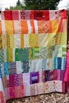 sew, craft, idea, rainbow quilt, colors, rainbows, quilts, scrap quilt, rainbow scrap