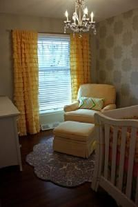 Yellow and gray Nursery - curtains, wall, and chandelier