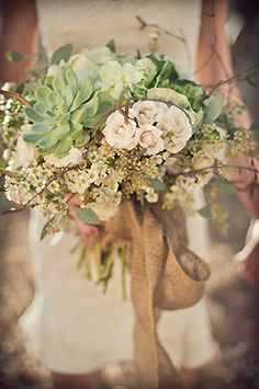 Roses, kale, succulents, wax flower, curly willow, italian birch with burlap :: Rene Tate Photography