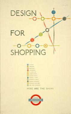 """London Transport - """"Design for Shopping"""" poster, designed by O'Keeffe, 1935"""
