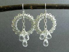 Storm Earrings - Silver Filigree Circle Chandelier Earrings with Clear Glass Briolette Clusters, Forward Facing Hoop Earrings