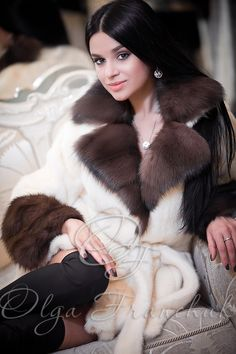 Scandinavian Mink Coat with English Collar and Cuffs of European Sable - Style 01-51