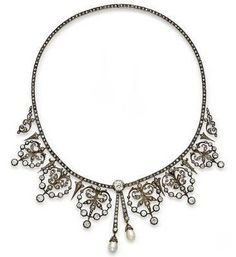 A diamond and pearl necklace combination circa 1890