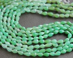 Chrysophrase Faceted Teardrop Gemstone Beads 6x4mm FULL STRAND (14 Inches).