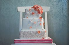 Pink Blossoms and Coral Hydrangea Square Opera Cake - Caketress - Toronto