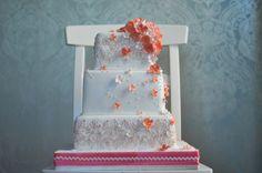 Pink Blossoms and Coral Hydrangea Square Opera Cake - Caketress - Toronto