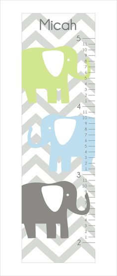 Elephant Growth Chart, childrens art, wall art, nursery wall art, vinyl decal, canvas print, Brooks nursery