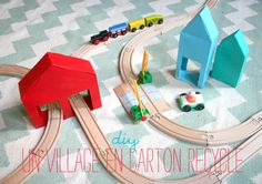 DIY Recycled Carton Village for Wooden Train Layouts