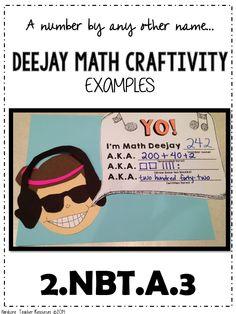 Deejay Math Activity Second Grade Math Higher Order Thinking Activity 2.NBT.A.3 FREE!