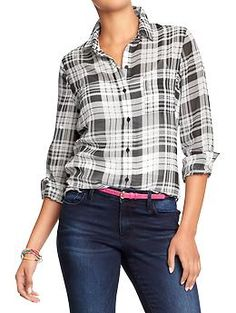 Old Navy Womens Plaid Chiffon Shirts. Nice worn out over skinny jeans, leggings