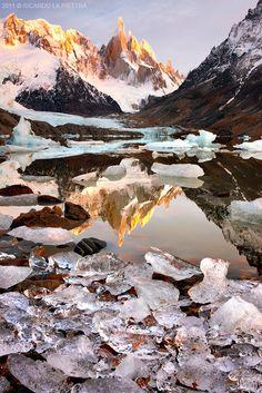 Sunrise. Cerro Torre.  Patagonia, Argentina.  by Ricardo La Piettra.
